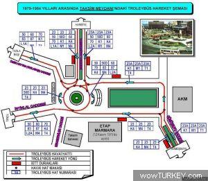Taksim Meydanı troleybüs hareket şeması (1979-1984)